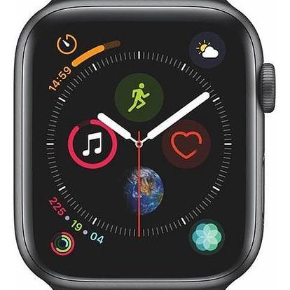 Chytré hodinky Apple Watch Series 4 Watch Series 4 GPS 44mm pouzdro z vesmírně šedého hliníku - černý sportovní řemínek CZ verze (MU6D2HC/A)