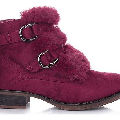 Desun Vínové boty s kožešinou SW6180WI Velikost: 38 (25 cm)