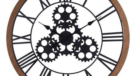 Emako Černé nástěnné hodiny s kovu a dřeva, velké nástěnné hodiny ve tvaru kola, inspirovaný průmyslovou estetikou