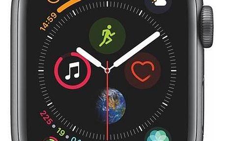Chytré hodinky Apple Watch Series 4 Watch Series 4 GPS 40mm pouzdro z vesmírně šedého hliníku - černý provlékací sportovní řemínek CZ verze (MU672HC/A)