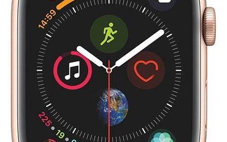 Chytré hodinky Apple Watch Series 4 Watch Series 4 GPS 44mm pouzdro ze zlatého hliníku - pískově růžový sportovní řemínek CZ verze (MU6F2HC/A)