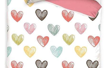 BedTex Bavlněné povlečení Color Hearts, 140 x 200 cm, 70 x 90 cm