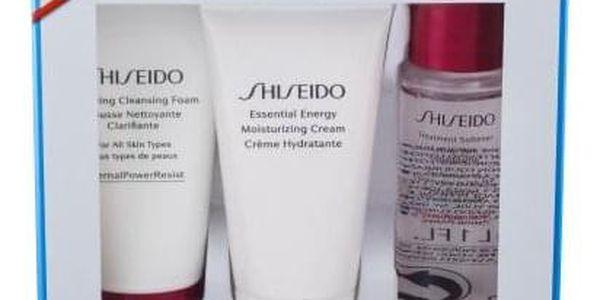 Shiseido Essential Energy dárková kazeta proti vráskám pro ženy denní pleťový krém 30 ml + čisticí pěna Clarifying Cleansing Foam 30 ml + pleťová voda Treatment Softener 30 ml