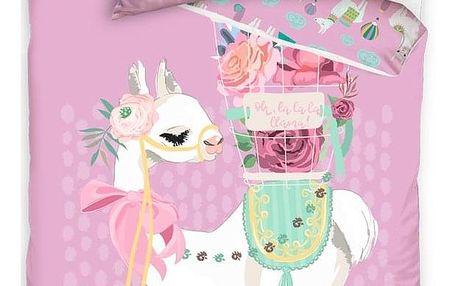 BedTex Bavlněné povlečení Lama Pink, 140 x 200 cm, 70 x 90 cm