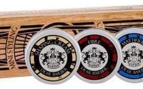 DEAR BARBER Fibre dárková kazeta pro muže stylingová guma 20 ml + matná stylingová pasta Mattifier 20 ml + stylingový krém Shaping Cream 20 ml + fixační pomáda Pomade 20 ml