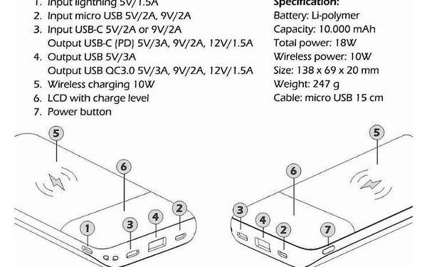 Powerbank Swissten All-In-One 10000mAh, Micro USB/USB-C/Lightning, QC 3.0, Qi černá (22013927)3