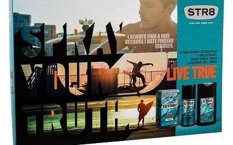 STR8 Live True dárková kazeta pro muže voda po holení 50 ml + deodorant 150 ml + sprchový gel 250 ml