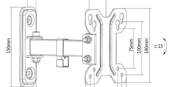 Držák TV GoGEN S polohovatelný, pro úhlopříčky 13'' až 27'', nosnost 30 kg (LDA11-111) černý3