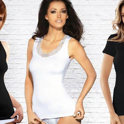 Dámská bavlněná tílka a trička: bílá, černá
