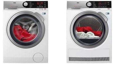 Set (Automatická pračka AEG ProSteam® L7FEE48SC) + (Sušička prádla AEG AbsoluteCare® T8DEC68SC) + DOPRAVA ZDARMA