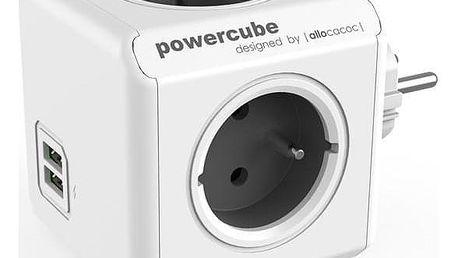 Powercube Original USB, 4x zásuvka, 2x USB šedá/bílá
