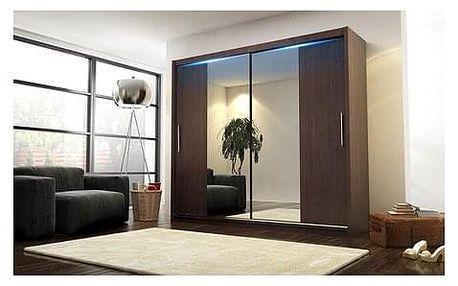 Kvalitní šatní skříň KOLA 4 wenge šířka 180 cm Bez LED osvětlení
