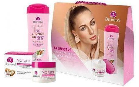 Dermacol Almond Oil dárková kazeta pro ženy tělové mléko 250 ml + denní pleťová péče Natural 50 ml