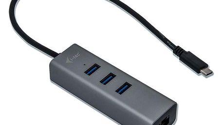 i-tec Metal USB-C/3x USB 3.0 + 1x RJ45 stříbrný (C31METALG3HUB)