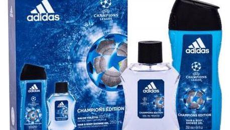 Adidas UEFA Champions League dárková kazeta pro muže toaletní voda 100 ml + sprchový gel 250 ml