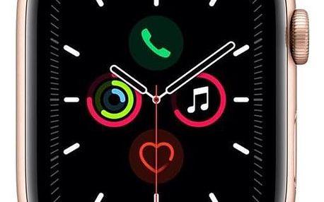 Apple Watch Series 5 GPS 44mm pouzdro ze zlatého hliníku - pískově růžový sportovní řemínek (MWVE2HC/A)