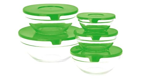 Koopman 5dílná sada skleněných misek s víčkem, zelená