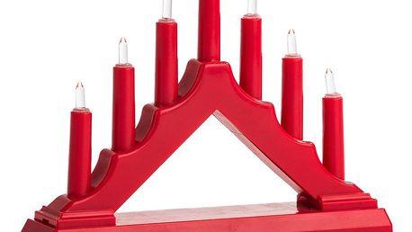 Vánoční LED svícen, červená, plast, 15,5 x 15,5 x 3,8 cm