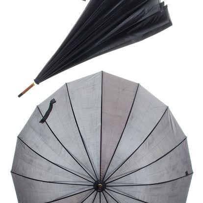 Holový deštník s dřevěným madlem černý