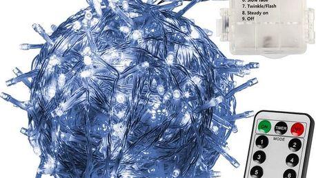 VOLTRONIC® 59578 Vánoční LED osvětlení 10 m - studená bílá 100 LED + ovladač BATERIE