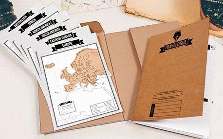 Cestovní deník se stíracími mapami celého světa