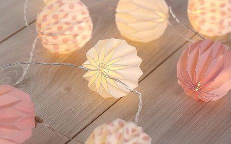DecoKing Ozdobná papírová girlanda růžová, 10 LED