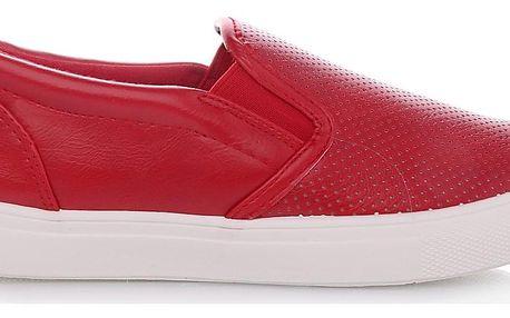 Cathay moda Červené slip on tenisky 29370-4R Velikost: 39 (24,5 cm)