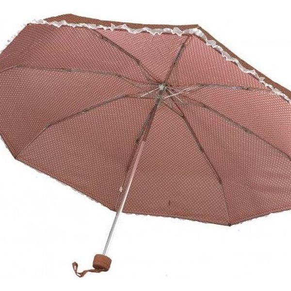 Transparentní poloautomatický deštník – oranžová2
