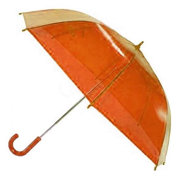 Transparentní poloautomatický deštník – oranžová3