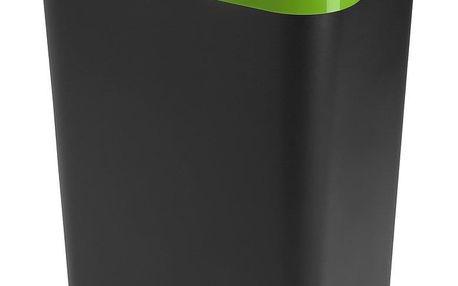 Heidrun Odpadkový koš 60 l, černý se zeleným pruhem , 60 l