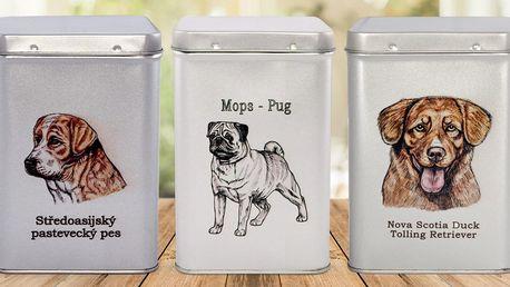 Praktické plechové dózy s obrázky různých plemen psů