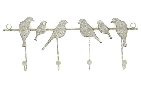 Nástěnný věšák Ptáčci 4 háčky, 41,5 cm