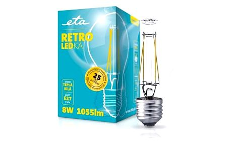 ETA RETRO LEDka klasik, 8W, E27, teplá bílá (ETA789090008)