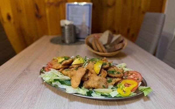 600 g řízků (kuřecí a vepřové), salát a pečivo4