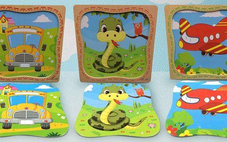 Puzzle pro děti v dřevěném rámečku: 12 dílků