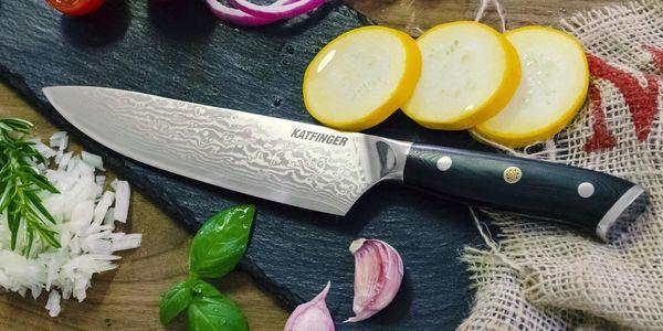 """Damaškový nůž Katfinger na zeleninu 3,5"""" - červený2"""