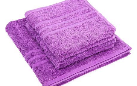 Profod Sada ručníků a osušky Classic fialová, 2 ks 50 x 100 cm, 1 ks 70 x 140 cm