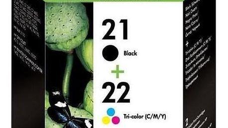 HP No. 21+22, 2 pack, 190/165 stran - originální černá (SD367AE)