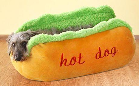 Měkoučký pelíšek ve tvaru hot dogu pro mazlíčky