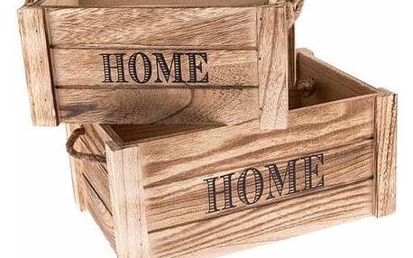 Sada dekoračních dřevěných bedýnek Home 2 ks, přírodní