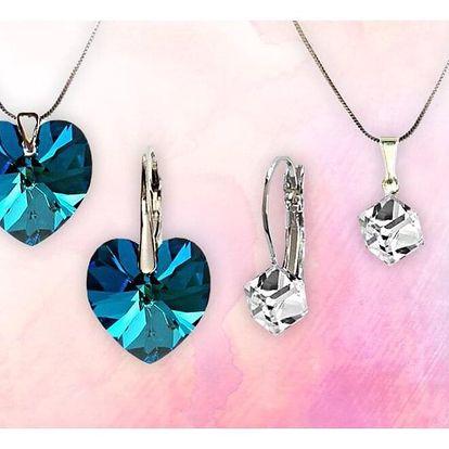 Elegantní šperky Swarovski: tvar kostky či srdíčka