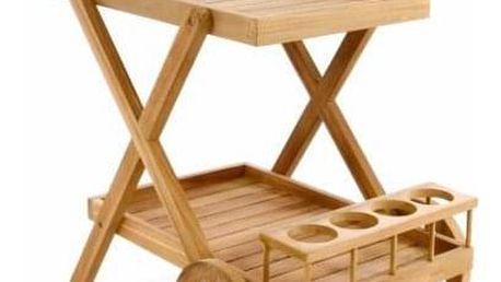 Divero 56087 Servírovací vozík z teakového dřeva