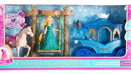 Fashion little girl Set kůň s kočárem a panenka princezna