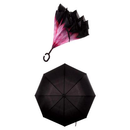 Obrácený holový deštník s dvojitým potahem růžová gerbera