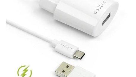 FIXED 1x USB, 2,4A + USB-C kabel bílá (FIXC-UC-WH)