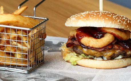 Burger, hranolky a dip dle výběru pro 1 nebo 2
