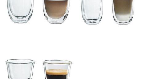 Set (Příslušenství DeLonghi Skleničky cappuccino) + (Příslušenství DeLonghi Skleničky latte macchiato) + (Příslušenství DeLonghi Skleničky espresso)