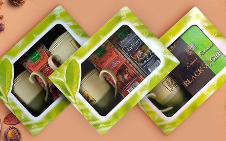 Dárková balení sáčkových i sypaných čajů s hrnky
