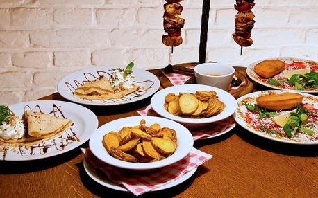 3chodové menu: chalupářský špíz i palačinka