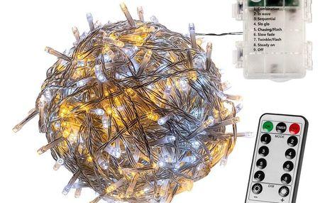 VOLTRONIC® 67399 Vánoční řetěz 10 m,100 LED,teple/stud.bílý+ovladač